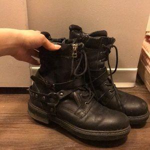 Aldo black combat boots